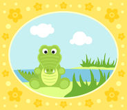 Safari background with crocodile Royalty Free Stock Photos