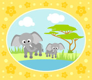 Safari background with elephants Royalty Free Stock Photos