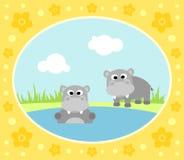 Safari background with hippopotamus Royalty Free Stock Photo