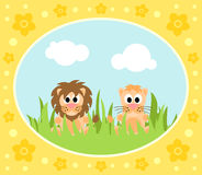 Safari background with lions Royalty Free Stock Photos