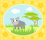 Safari background with rhino Royalty Free Stock Photography