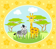 Safari background with zebra and giraffe Stock Images