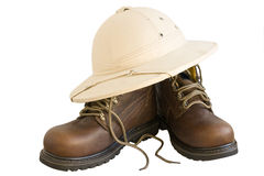 Safari boots and hat isolated Stock Image
