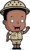 Safari Boy. A happy cartoon safari boy waving and smiling Royalty Free Stock Image