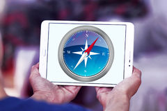 Safari browser logo. Logo of Safari browser on samsung tablet royalty free stock photo