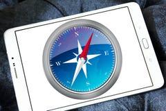 Safari browser logo. Logo of Safari browser on samsung tablet stock images