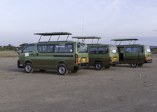 Safari buses. The car used to carry tourists during a safari in kenya Stock Images
