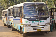 Safari buses. JANUARY 26, 2014, NANDANKANAN ZOO, BETWEEN BHUBANESHWAR AND CUTTACK, ORISSA, INDIA - Safari buses in Nandankanan zoo Royalty Free Stock Photo