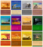Safari calendar for 2014. Safari animals english calendar for 2014 in colorful background stock illustration