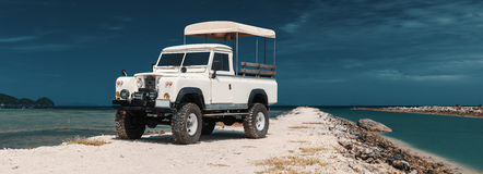 Safari car on offroad ,adventure trail Stock Photos