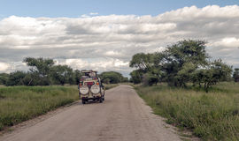 Safari car on the roads in Tanzania Royalty Free Stock Images