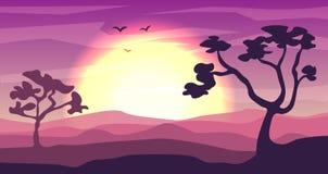 Safari cartoon background, desert savanna panorama and landscape with trees, hills, dunes and moon. Desert layered. Safari cartoon background, desert savanna royalty free illustration