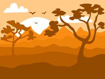 Safari cartoon background, desert savanna panorama and landscape with trees, hills and sun. Safary layered panoramic. Background, savannah landscape, African vector illustration