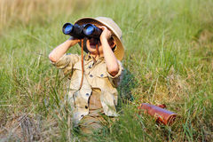Safari chłopiec Zdjęcia Royalty Free