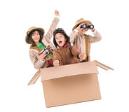 Safari. Children in a cardboard box playing Safari Stock Photos
