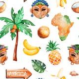 Safari collection with african woman,men masks,banana, pineapple. Africa watercolor seamless pattern.Safari collection with african woman,men masks,banana stock illustration