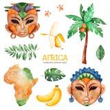 Safari collection with palm tree, banana, african woman, men masks. Africa watercolor set. Safari collection with palm tree,banana, leaves, african woman, men stock illustration