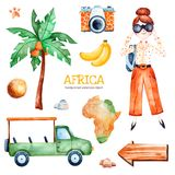 Safari collection with palm tree, young travelling girl, pickup car. Africa watercolor set. Safari collection with palm tree, banana, coconut, wooden sign, young Stock Images