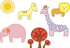 Safari day. A group of animal seen in africa with trees and sun outlined with dots royalty free illustration