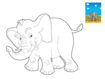 Safari de bande dessinée - page de coloration - illustration pour les enfants Photos stock