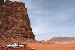 Safari in desert, Wadi Rum, Jordan Royalty Free Stock Images