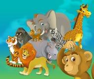 Safari dos desenhos animados - ilustração para as crianças Imagem de Stock