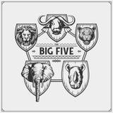 Safari emblem with Big Five animals. Lion, elephant, rhino, leopard and buffalo. Vector Royalty Free Stock Photography