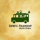 Safari Excursion abstract symbol on dirty background vector illu Royalty Free Stock Images