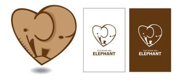 Safari för elefantförälskelsehjärta Vektor Illustrationer