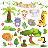 Safari Forest Animal Vector Set Fotos de archivo libres de regalías