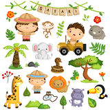 Safari Forest Kids And Animal Vector Set Royalty Free Stock Photography