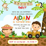 Safari Forest Kids Birthday Invitation Fotografia Stock