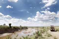 Safari game drive along Mara river, Kenya Stock Photos