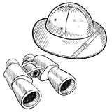 Safari gear drawing. Doodle style safari gear in vector format including hat and binoculars Stock Photos