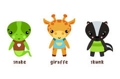 Safari giraffe and lizard snake, baby skunk icons Stock Photo