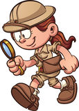Safari girl. Cartoon safari girl looking through a magnifying glass. Vector clip art illustration with simple gradients. All in a single layer Royalty Free Stock Images