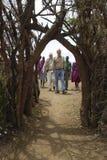 Safari group visiting village near Tsavo National Park in Kenya, Africa Stock Photo