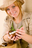 Safari happy young woman with coconut Stock Image