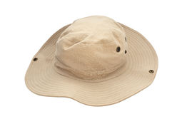 Safari hat. In khaki colored fabric with snap fasteners on a white background royalty free stock image