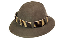 Safari hat. Traditional safari hat with zebra hat band stock images