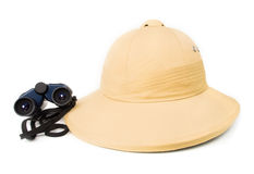 Safari hat with binoculars. Royalty Free Stock Photo