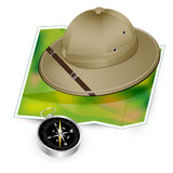 Safari hat, map and compass vector illustration