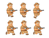 Safari Hunter Animation Sprite. Vector Illustration of Fat Boy Safari Hunter Animation Sequence for Game Project Stock Photography