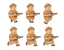 Safari Hunter Animation Sprite Stock Photography