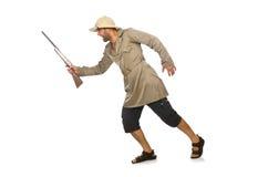 The safari hunter isolated on white Royalty Free Stock Photo