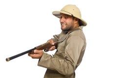 The safari hunter isolated on white Stock Image