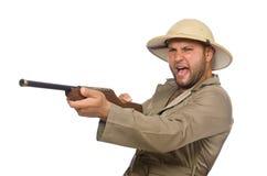 The safari hunter isolated on white Royalty Free Stock Photos