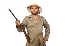 The safari hunter isolated on white Stock Photo