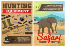 Hunting ammo, African safari animals. Safari hunting ammo equipment and hunter traps. Vector exotic hunt elephant and zebra animals in savanna, hunter in pickup stock illustration