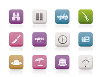 Safari, hunting and holiday icons Stock Images